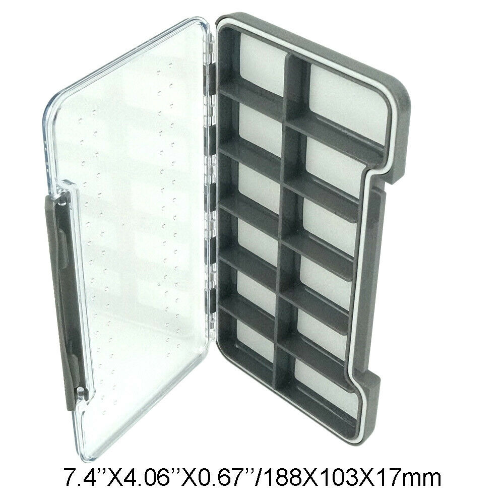 100%Waterproof Slim Fly Box Pocket Flies Box Grip Foam 12 Magnetic Compartments