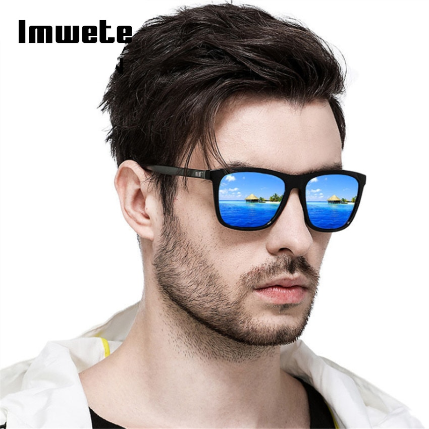 Imwete polarizado óculos de sol dos homens moda quadrado preto quadro de condução viagem uv400 polaroid