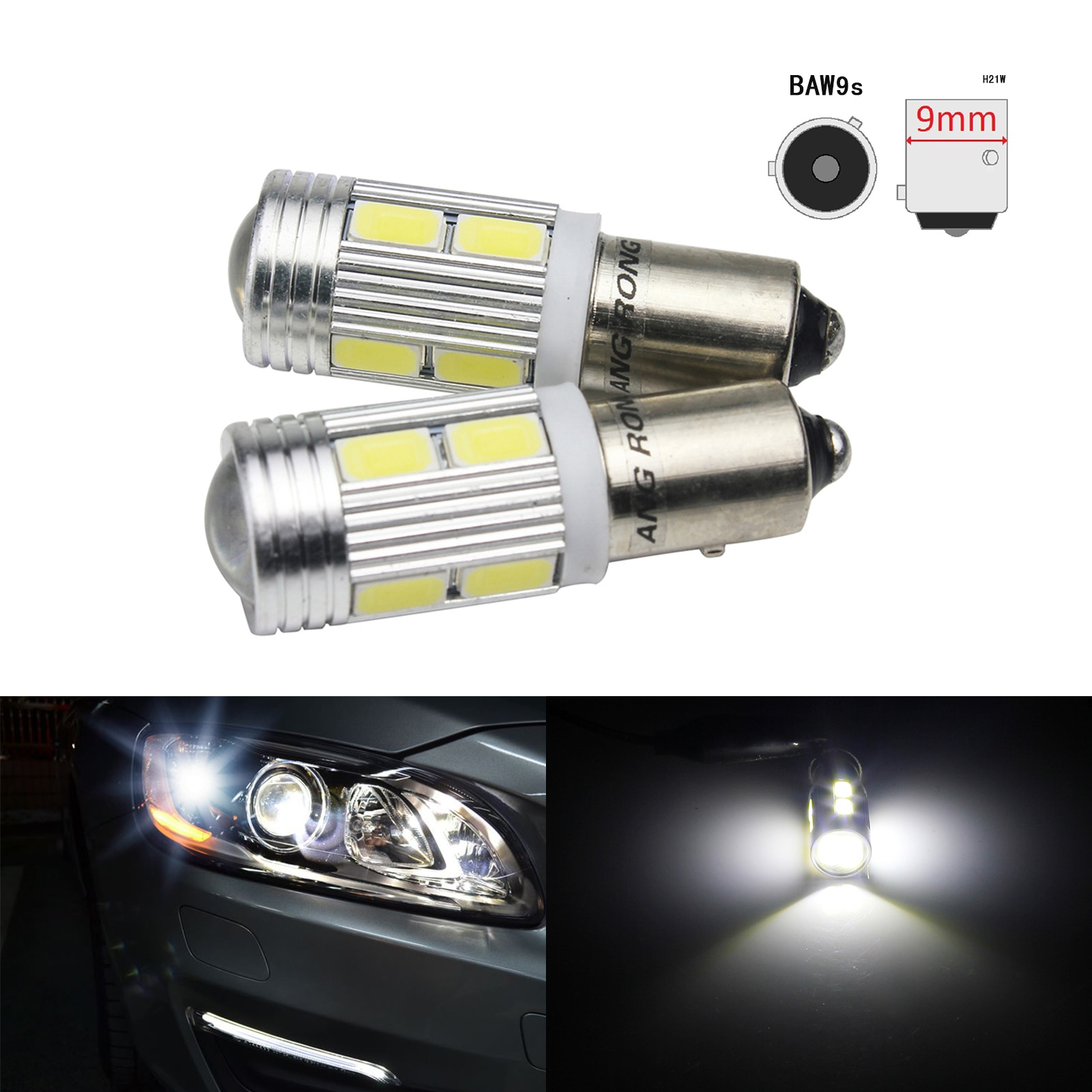 ANGRONG 2x Белый BAW9s HY21W 4 Вт светодиодный индикатор Sidelight лампа для парковки