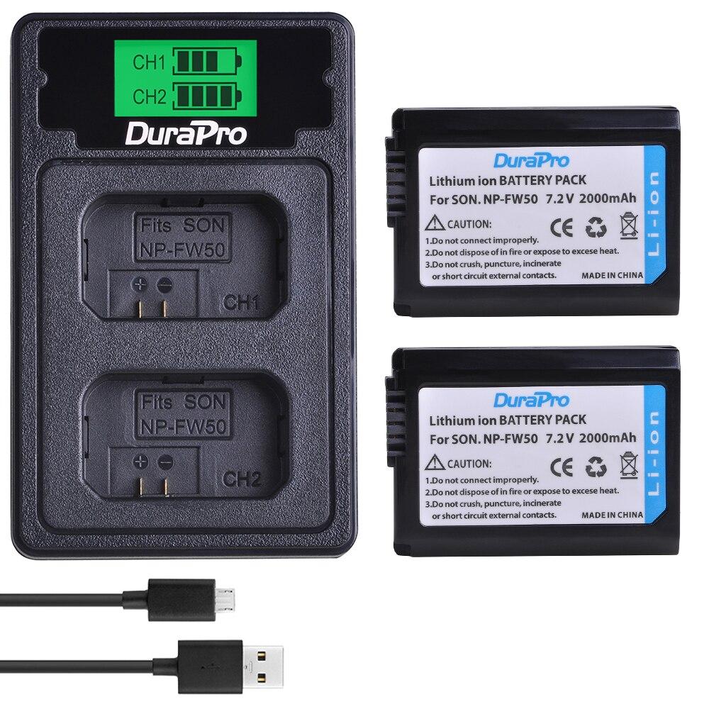 Paquete de batería NP-FW50 NP FW50 + cargador LCD para cámara Sony...