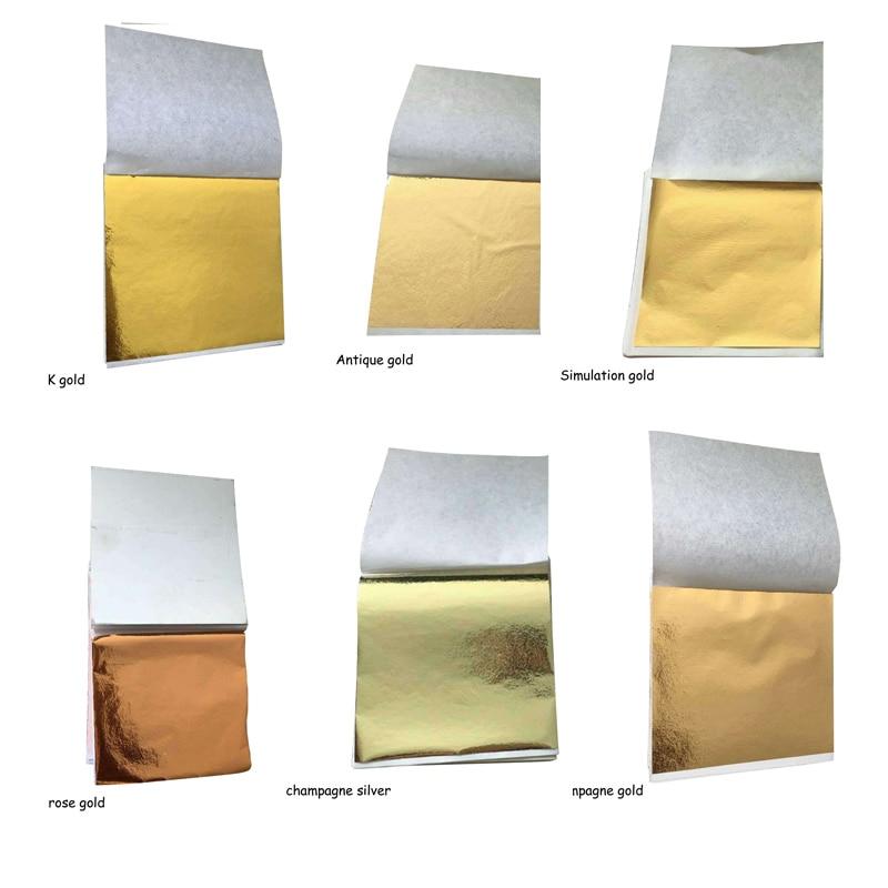 100 Pcs 8.5x9cm Art Craft Imitation Gold Sliver Copper Foil Papers Leaf Leaves Sheets Gilding DIY Craft Decor Design Paper