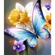 Souvenir regalos flores y mariposas decoración del hogar diamante pintura de bordado por el mosaico de diamantes de costura de punto de cruz