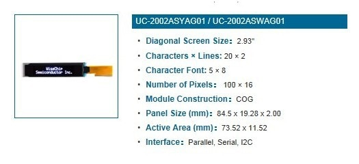 "FREE SHIPPING 2PCS/LOT 2.93"" inch 100x16 1602  Yellow OLED Display Module UC-1602ASYCG01"