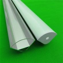 2-10 stks/partij 0.5 m/stk 45 graden hoek aluminium profiel voor dubbele rij led strip, 20mm pcb bar lichte behuizing, led semiround kanaal