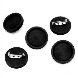10 шт. пустая черная древесина, брошь из кабошона, основа, 25 мм, круглый ободок, лоток, брошки, нержавеющая сталь, шпильки для самостоятельного изготовления ювелирных изделий