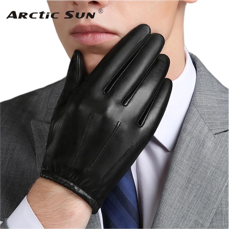 Перчатки мужские из натуральной кожи, тонкие бархатные элегантные кожаные перчатки для вождения, NM792B, Осень-зима