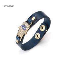 4 Colors PU leather Bracelet Zinc Alloy Evil Eye Hamsa Pendent Bracelet For Men Women Fashion Jewelry 1pc
