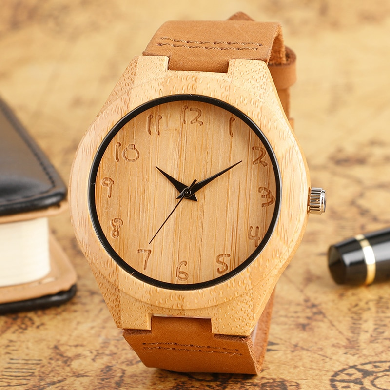Wooden Watch Men Bamboo Novel Modern Fashion Sport Women Clock Nature Wood Quartz Wristwatches Genuine Leather Band Strap