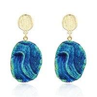 hot sell europe boho vintage irrgular resin silver gold dangle earrings for women jewelry colorful starry sky earrings gift