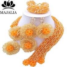Mode perles de mariage africaines orange mariage nigérian perles africaines ensemble de bijoux cristal livraison gratuite Majalia-303