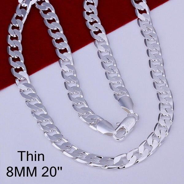 N925 prata esterlina cor jóias 8mm bonito lado plano instrução ligando correntes colares longos da forma. Colar de homem 47