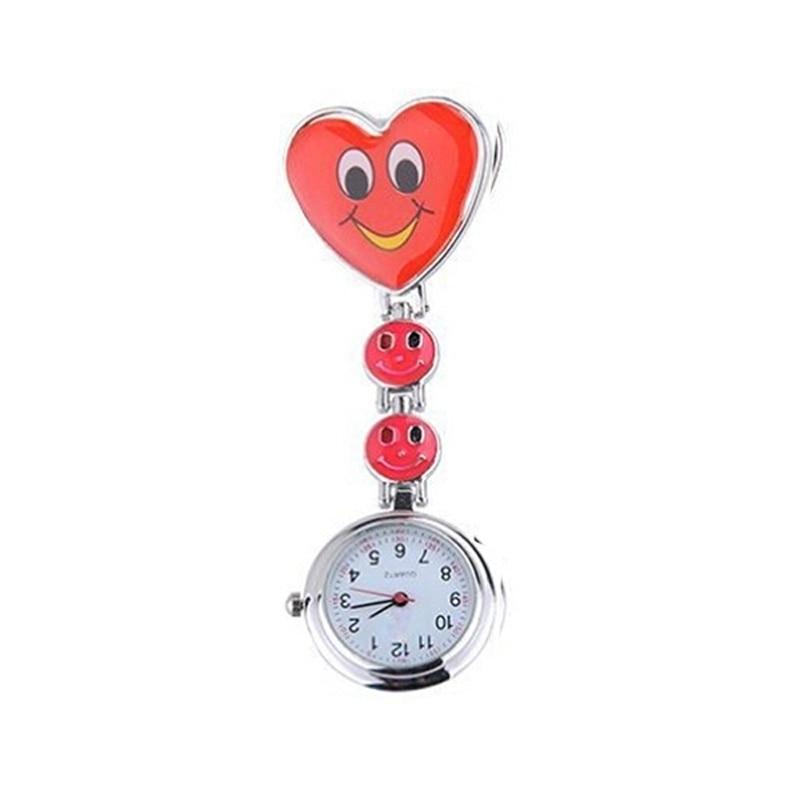Gran oferta reloj de bolsillo para enfermera encantador corazón cara sonriente con Médicos Enfermeras relojes de cuarzo de moda LXH