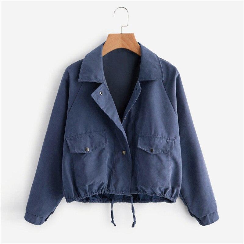 Chaqueta Mujer otoño moda corto Color sólido Turn-down Collar abrigo botón bolsillo chaqueta cárdigan Casacas Para Mujer Jaqueta