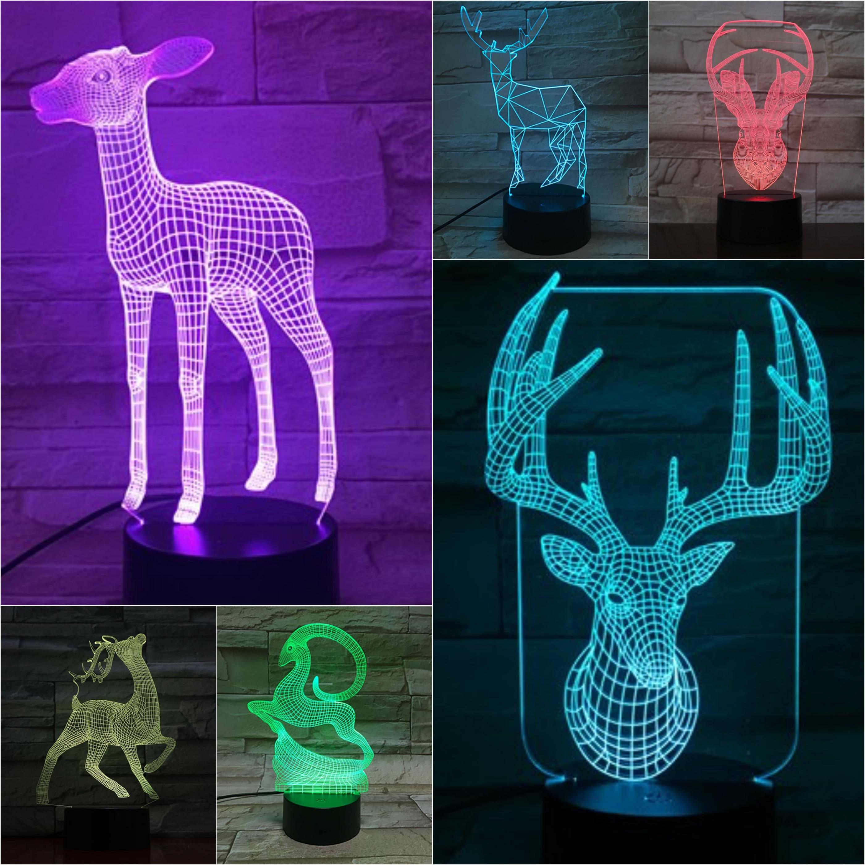 Christmas Deer lampa stołowa sypialnia czujnik dotykowy renifer RGB dekoracyjna lampa 3D dziecko dzieci zestaw prezent Sika deer lampka nocna LED ełk