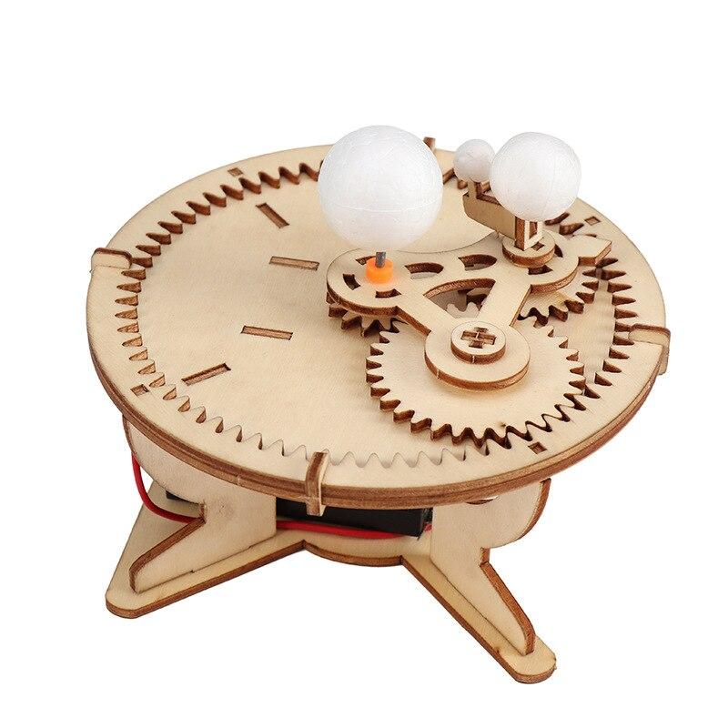Bricolage bois jouet système solaire Globe terre soleil lune Orbital planétarium modèle jouet éducatif Kid astronomie Science Kit outil denseignement