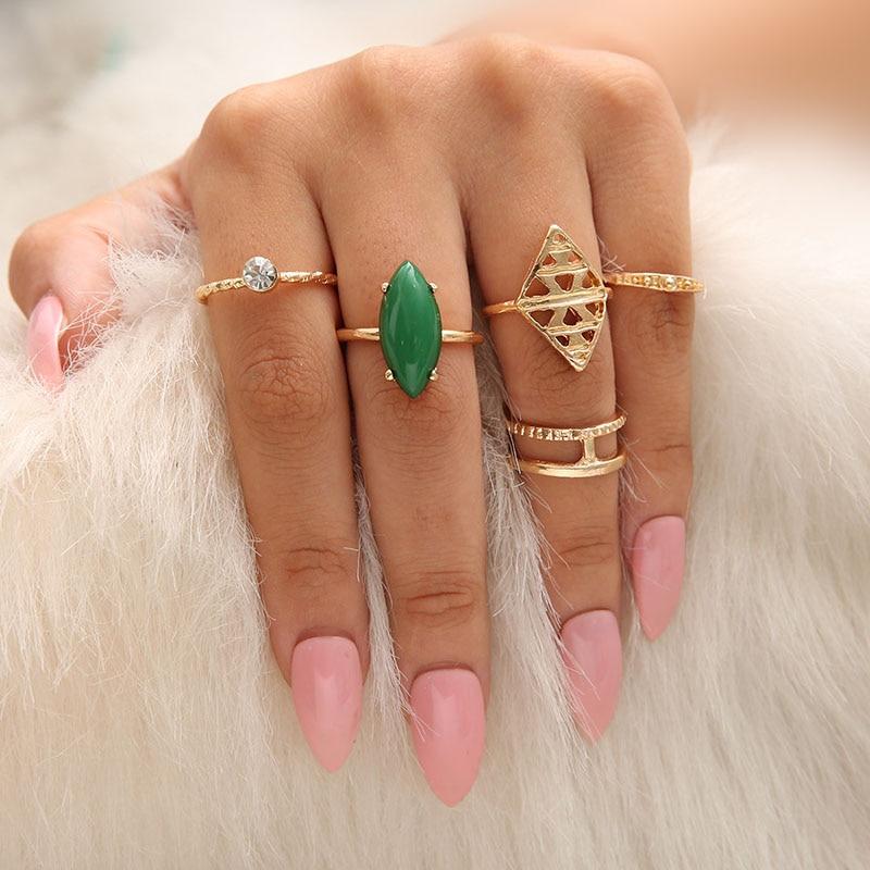 Anel turco do vintage conjuntos de cor pedra verde cristal midi dedo anéis conjuntos para mulher 2020 punk estilo anillos anéis junta