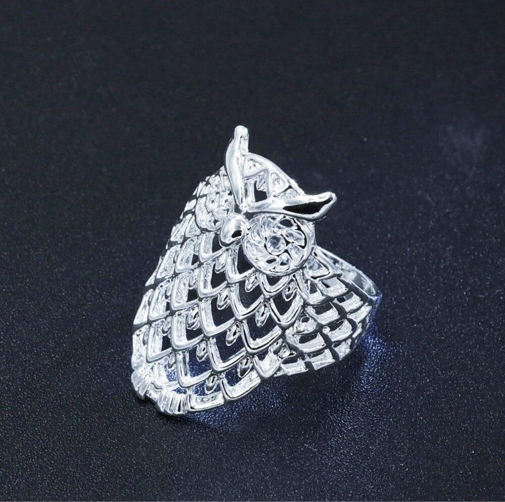 Animail anillo de dedo hueco apilable de búho bonito Chapado en Plata para mujer boda compromiso fiesta Vintage joyería tamaño 5-9