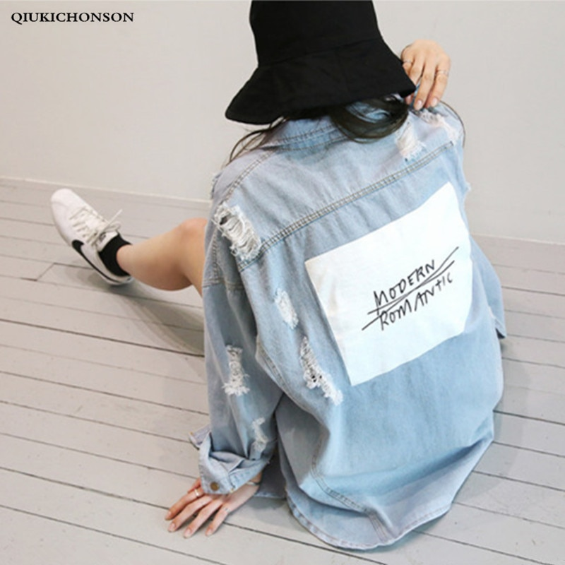 Casual suelta larga camisa de mezclilla mujeres 2019 primavera otoño Streetwear Boyfriend carta estampado Ripeed de talla grande Jeans Tops de manga larga
