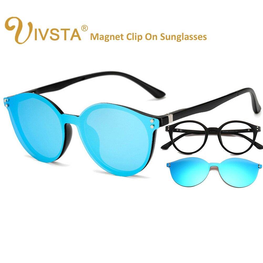 Gafas de sol IVSTA Cat Eye Clip On con imán sin gancho diseño integrado Super ligero polarizado lentes espejo Clips marco magnético