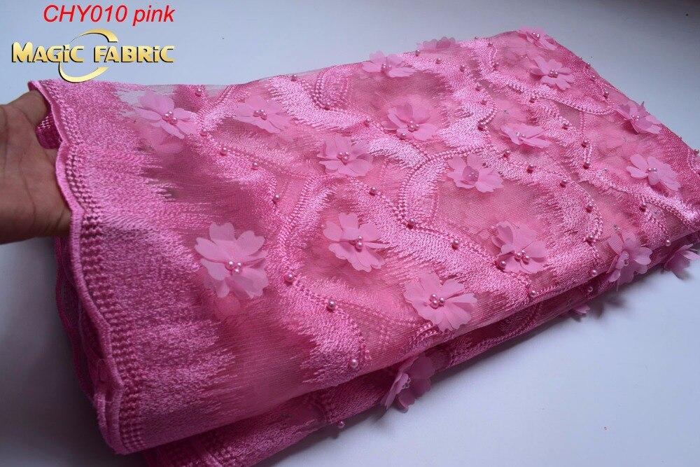 Mais recente Laço Francês Tecido Bordado Tecido de Malha Barato Tulle Net 3D Flor Tecido de Renda Africano Para As Mulheres Belo Vestido CHY0010