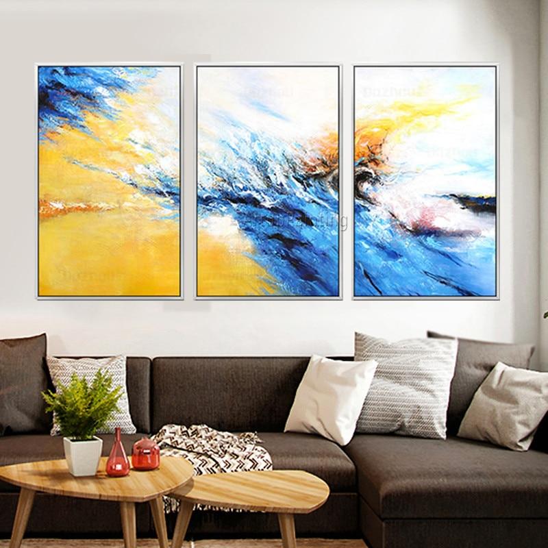Pintura da Lona Peças de Acrílico Pintura a Óleo Arte da Parede Pictures para Sala de Estar Cuadros Decoracion Azul Amarelo Moderna Abstract14 3