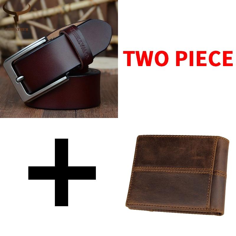COWATHER פרה אמיתי חגורת עור ארנק לגברים באיכות גבוהה אופנה זכר רצועת ארנק חליפת פרה עור משלוח חינם