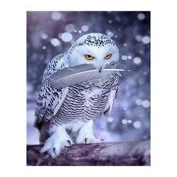 Diy bordado com diamantes needlework pintura diamante mosaico dmc pintura animais neve coruja cruz-ponto decoração handwork