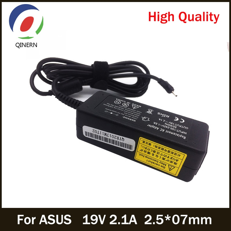 QINERN 19V 2.1A 40W 2.5*07mm AC Laptop Charger For ASUS Laptop Eee PC X101CH R051PX Car Power Supply Laptop Adapter For ASUS asus ac laptop power adapter travel charger for asus 2 5 0 7mm 19v 2 1a 40w adp 40ph ab power supply charger