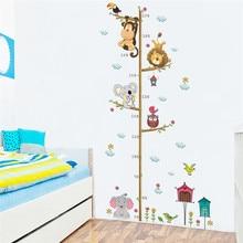 Cartoon Jungle Animals Lion Monkey Owl Elephant Height Measure Wall Sticker For Kids Rooms Growth Chart Home Decor Wall Art Gift