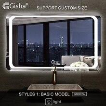Gisha-miroir intelligent mural Anti-buée   Miroir de salle de bains et de toilette, avec Bluetooth, écran tactile, G8002