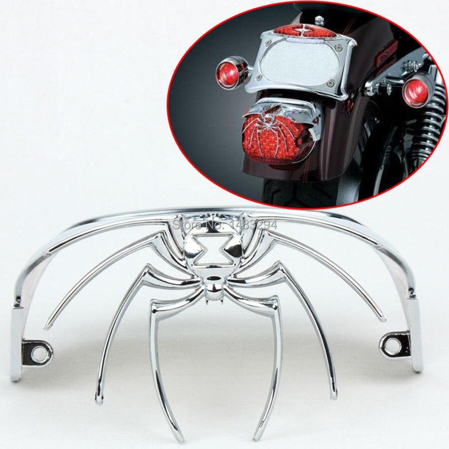 Piezas de motocicleta cubierta de luz trasera cromada araña viuda se adapta a Harley FLSTS FLSTSC FLSTN FXSTD