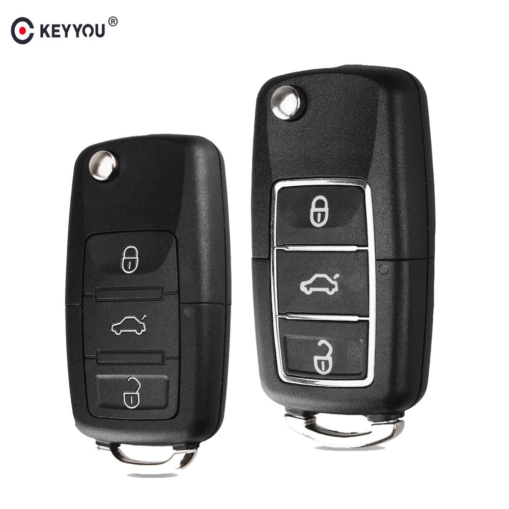 Carcasa de la llave a distancia del coche KEYYOU 20x Fob para VW Passat b6 Polo Golf 5 4 6 Touran Bora recién llegado 3 botones llave plegable