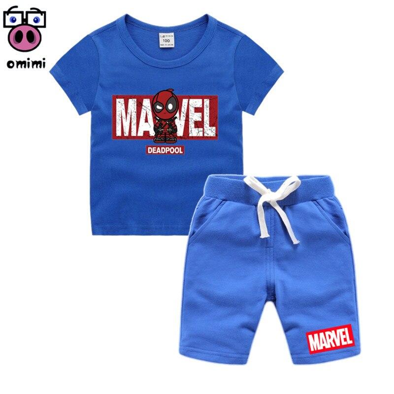 Kinder 3D MARVEL DEADPOOL Gruppe Kleidung Mädchen Cartoon Kleidung Set Kinder Sohn Goku T-shirt Shorts Kleinkind Jungen Kleidung Set