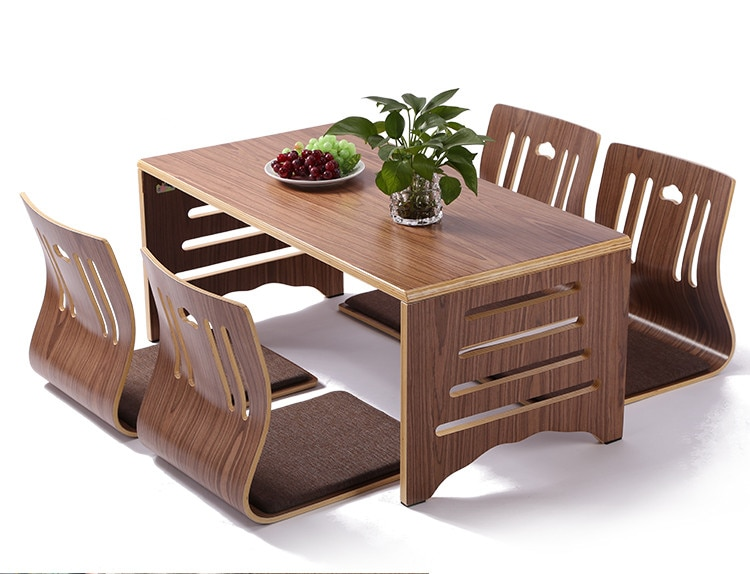 5 قطعة/المجموعة الحديثة اليابانية نمط طاولة طعام وكرسي الآسيوية الطابق منخفضة خشب متين أرجل طاولة طوي مجموعة غرفة الطعام Zaisu كرسي
