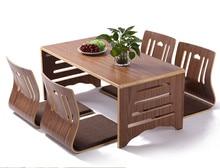 5 pièces/ensemble Table à manger et chaise de Style japonais moderne plancher asiatique bas pieds de Table en bois massif ensemble de salle à manger pliable chaise Zaisu