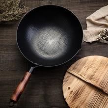 Sartén de hierro sin recubrimiento, sartén de hierro fundido, uso General para cocina de gas y de inducción, utensilios de cocina chinos Wok, sartén, herramientas de cocina