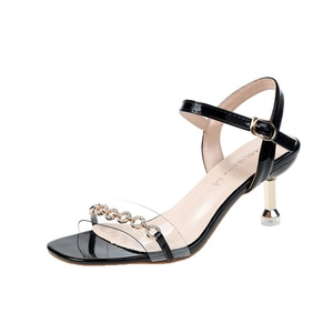 2019 PVC Jelly Sandals Crystal Chain Open Toed High Heels Women Transparent Discount Heel Sandals Wedding Shoes