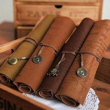 1 шт. винтажный пиратский свернутый полиуретановый кожаный пенал для карандашей сумки Карта сокровищ Подарочная косметичка для макияжа