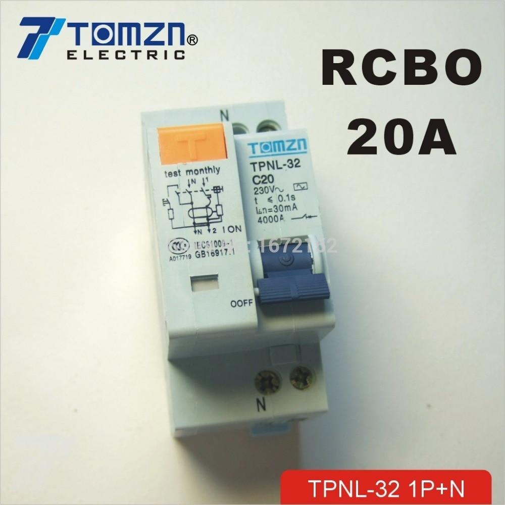 Interruptor de corriente Residual DPNL 1P + N 20A 230V ~ 50 HZ/60 HZ con protección contra sobrecorriente y fugas RCBO