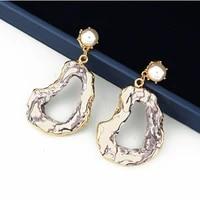 new design 2019 jewelry gold cover green purple crystal stone dangle earrings pearl hollow cute elegant earrings for women gift