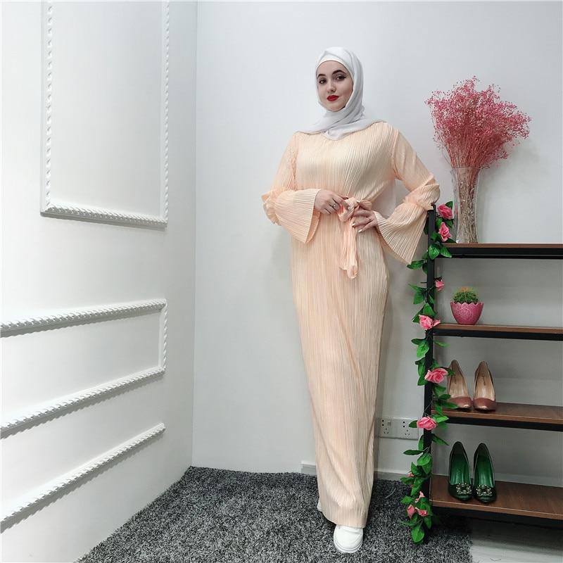 Vestidos plisados Ramadán Tesettur Elbise Kaftan Abaya árabe islámico musulmán Maxi vestido caftán marroquí Hijab Vestidos túnica Mujer
