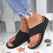 Women PU Leather Shoes Flat Sole Ladies Casual Soft Big Toe Foot Correction Sandal Orthopedic Bunion Corrector Dropshipping