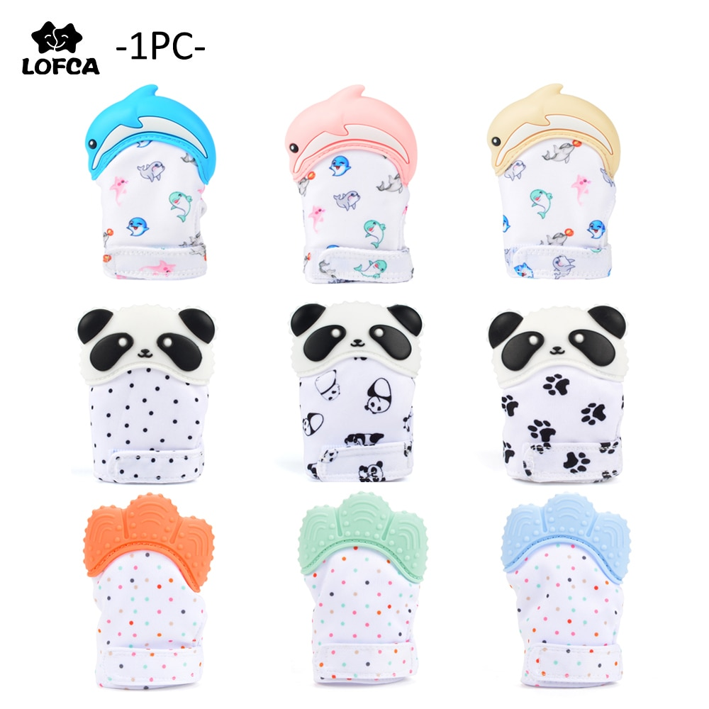 Silicone Teether 1pc Animal Dolphin Baby Teething Glove Panda Wrapper Sound Teething Chewable beads Newborn Toddler Food Grade