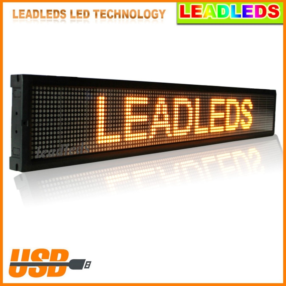 Fedex Express Shipping Usb Programmable Scrolling Electronic Sign Indoor LED Display Board screen car advertising 30 X 6.3 inch