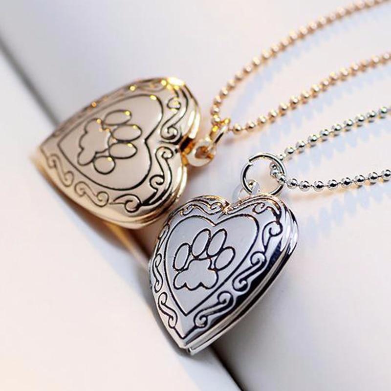 SUTEYI фоторамка на память медальон ожерелье золотой серебряный цвет кулон кошка собака Лапа Ожерелье «отпечаток лапы» ювелирные изделия подарок на день матери