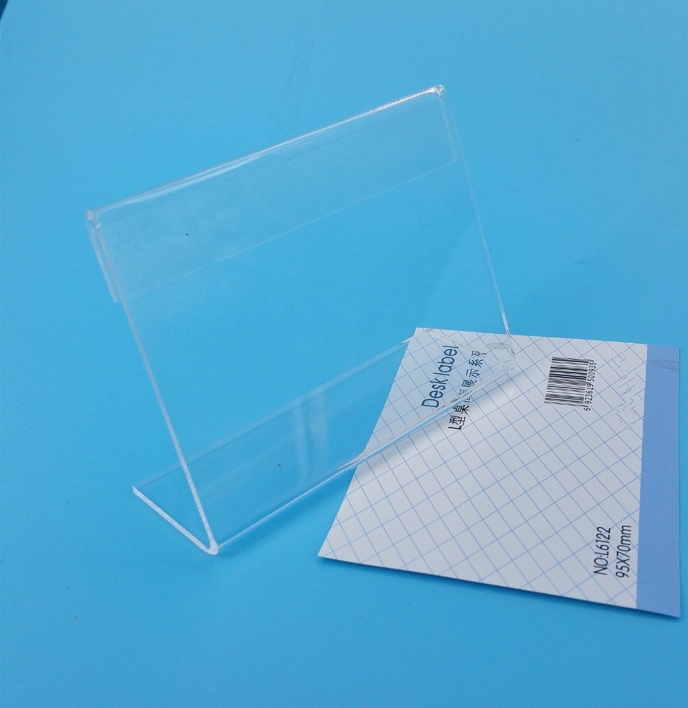 95x70mm T2mm Clear L Shape PMMA Acrylic Sign Display Paper Promotion Card Table Label Holders Stands In Horizontal 500pcs