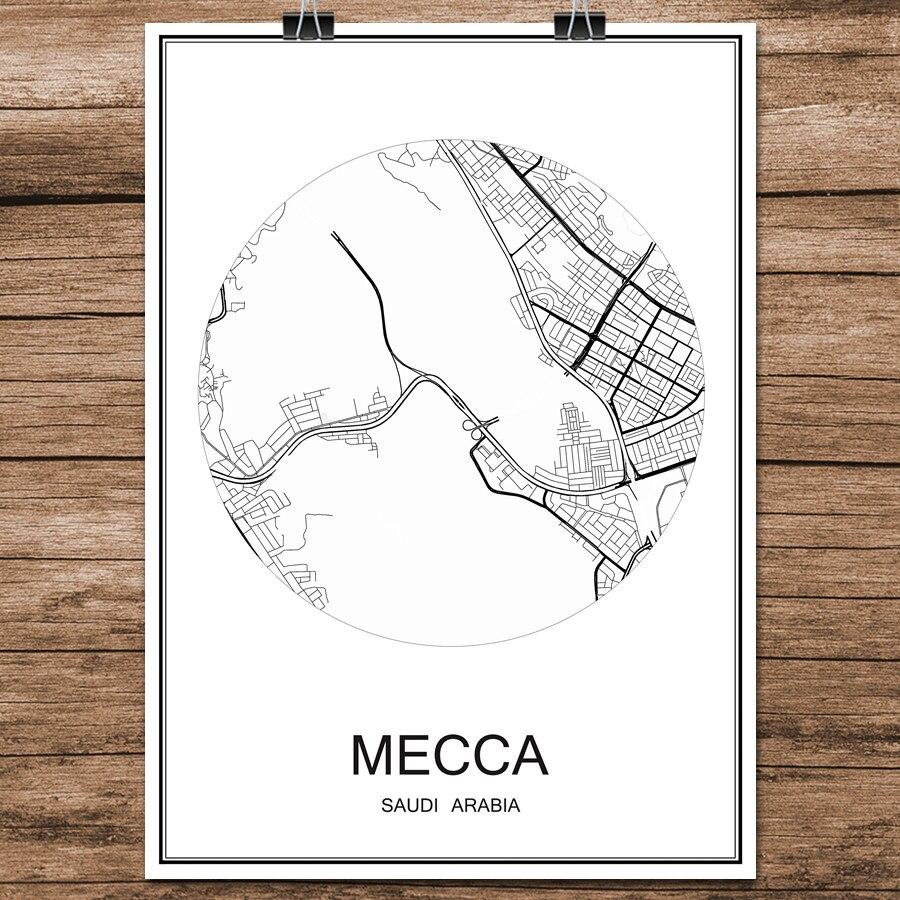 La Meca Arabia Saudí mundo abstracto de la calle de la ciudad Póster con estampado de mapa de papel recubierto Cafe Bar salón hogar Decoración de pared etiqueta 42x30cm