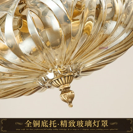 European style all copper led ceiling dome light crystal lamp French round bedroom lamp.  - buy with discount