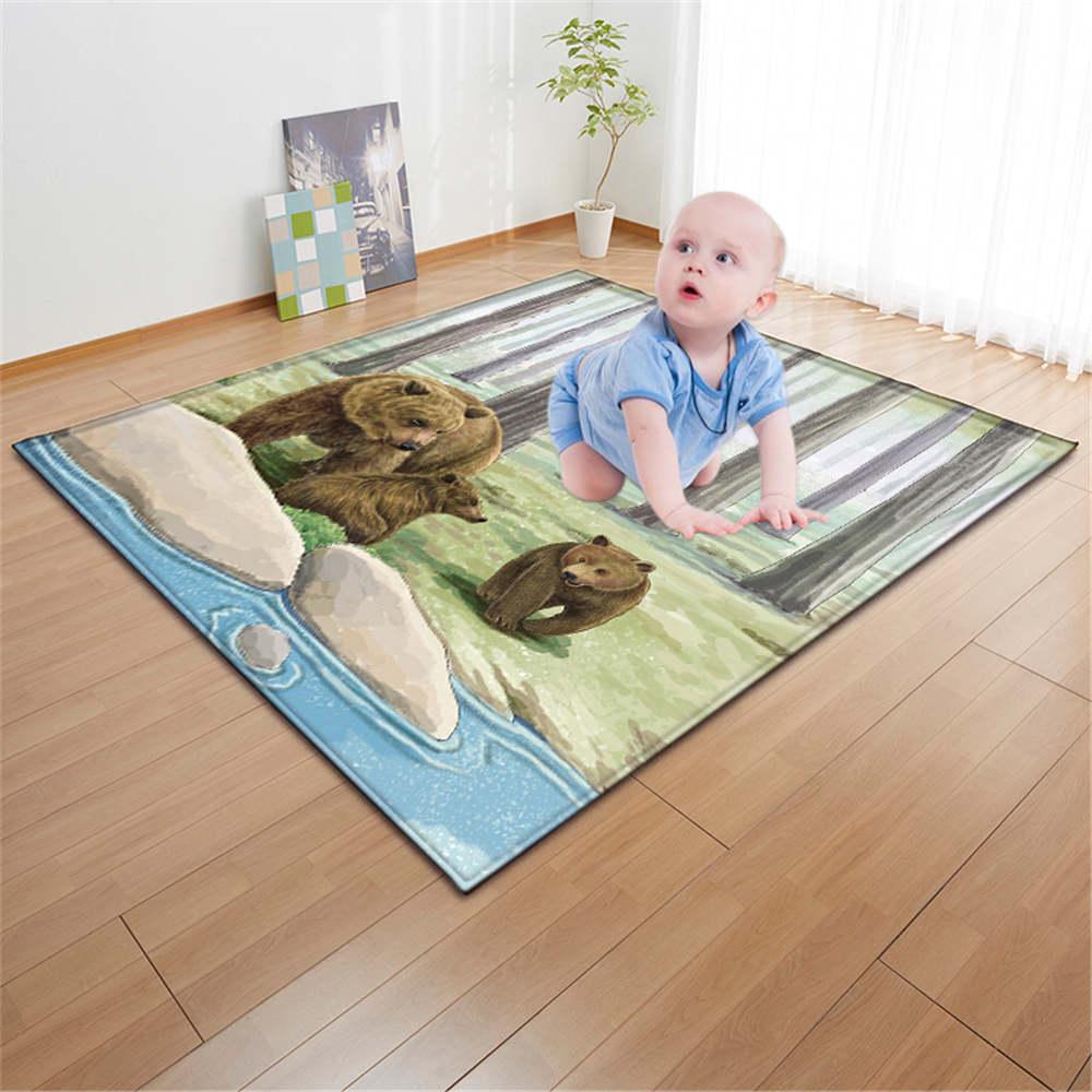 3D ours tapis salon grand tapis enfants chambre décoration tapis anti-dérapant doux flanelle chambre tapis bébé ramper petits tapis