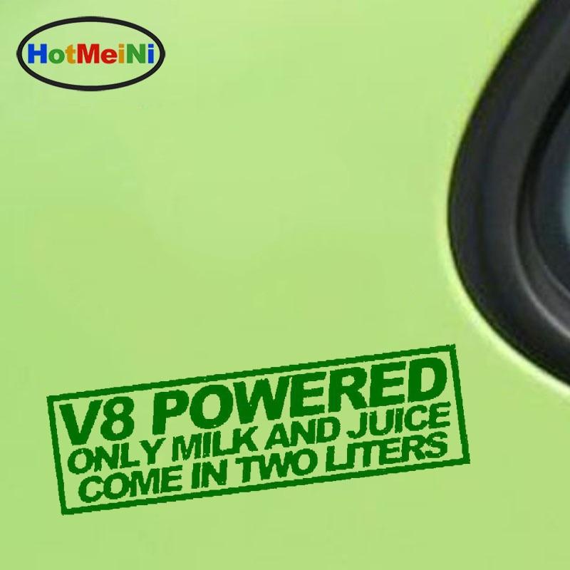 HotMeiNi venta al por mayor V8 jugo de leche alimentado 2 litros pegatina Funny Race Mustang Jdm pegatina Drift palabras coche pegatina 18*7,3 cm